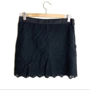 J. Crew size 0 black lace mini skirt